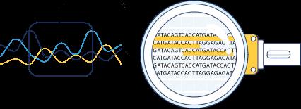 desenho de lupa investigando DNA