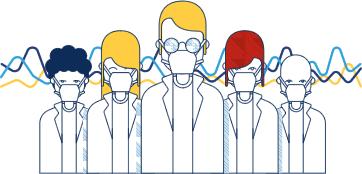 desenho de especialistas em genética, geneticistas e biomédicos