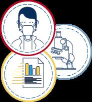 biomédico, microscópio e laudo
